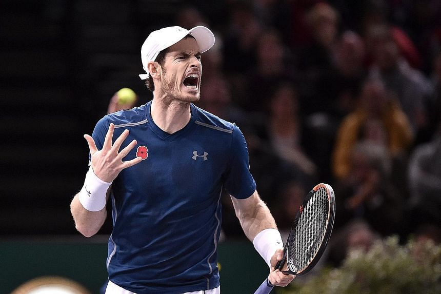 Britain's Andy Murray reacting during the Paris Masters final against John Isner. Murray won the title decider last Sunday and will play his first match as world No. 1 on Nov 14 against Marin Cilic.