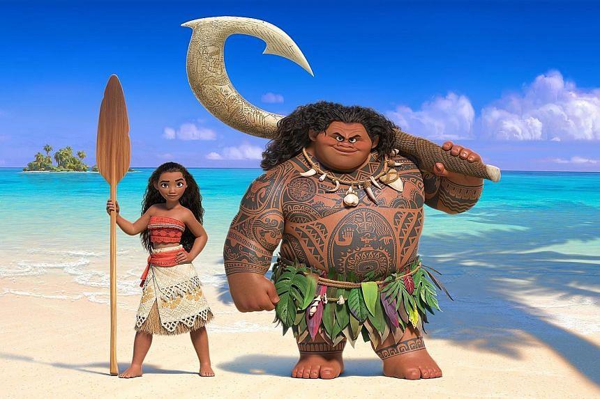 Moana (voiced by Auli'i Cravalho) befriends demigod Maui (above) on her journey of self-discovery.