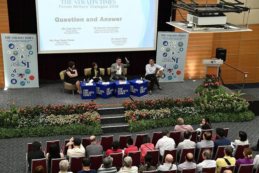 Editors from The Straits Times (from far left) Ms Ong, Ms Liaw, Mr Fernandez and Mr Chin in a dialogue with readers who wrote in to ST Forum.