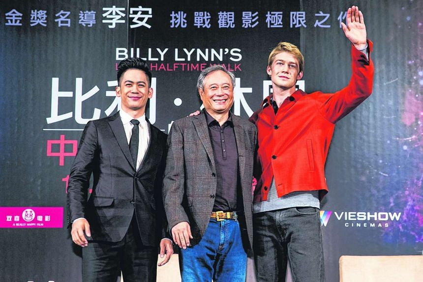 Mason Lee, Lee Ang and Joe Alwyn at the press conference for Billy Lynn's Long Halftime Walk in Taipei at Grand Hyatt Hotel on Nov 3, 2016.
