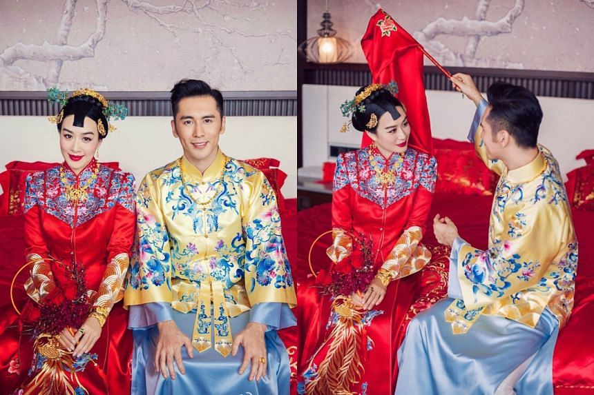 Actress Christy Chung and her new husband, actor Zhang Lunshuo.