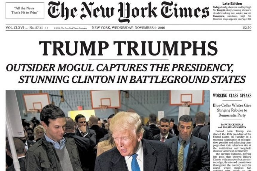 The New York Times print cover for Wednesday. US newspapers reacted with eye-catching headlines after Trump's win.
