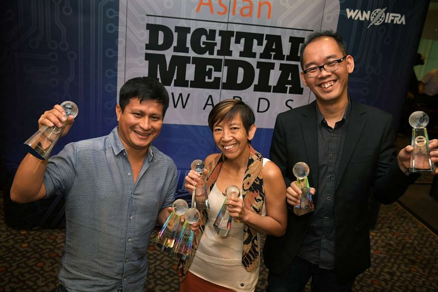 (From left) The Straits Times senior web developer Yime Benites Puelles, head of The Straits Times Training Angelina Choy and production editor at The Straits Times Digital, Chew V-Ming.