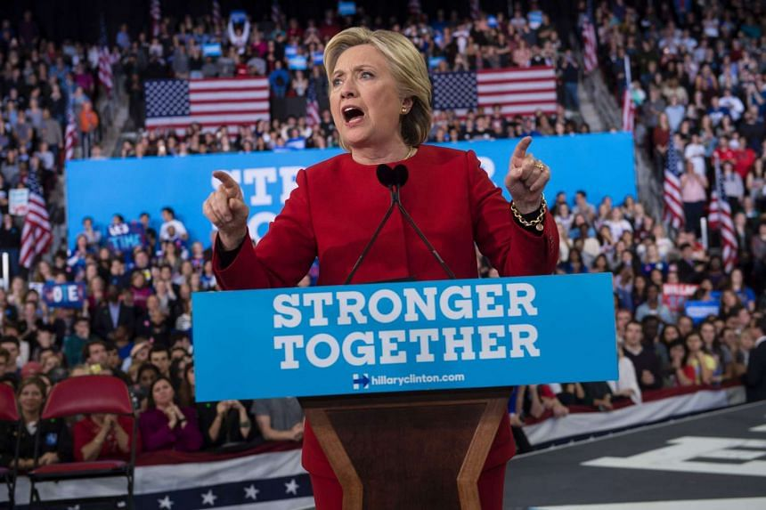 Democratic presidential nominee Hillary Clinton speaks during a midnight rally at Reynolds Coliseum on Nov 8, 2016 in Morrisville, North Carolina.