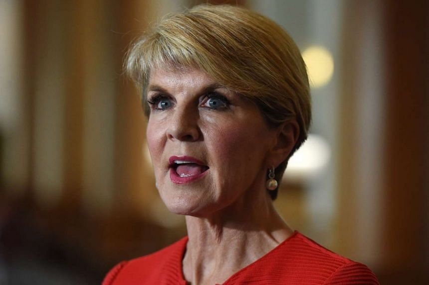 Australian Minister for Foreign Affairs Julie Bishop speaks during a press conference at Parliament House in Canberra.