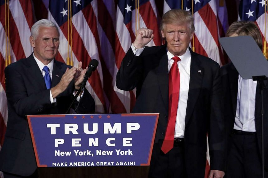 US president-elect Donald Trump and his running mate Mike Pence address their election night rally in Manhattan, New York on Nov 9, 2016.