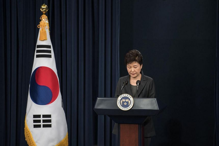 South Korea's President Park Geun Hye speaking during an address to the nation at the presidential Blue House in Seoul, on Nov 4, 2016.