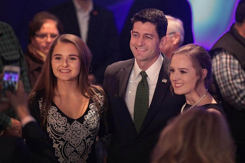 US House Speaker Paul Ryan greets supporters at an election-night rally on Nov 8, 2016 in Janesville, Wisconsin.