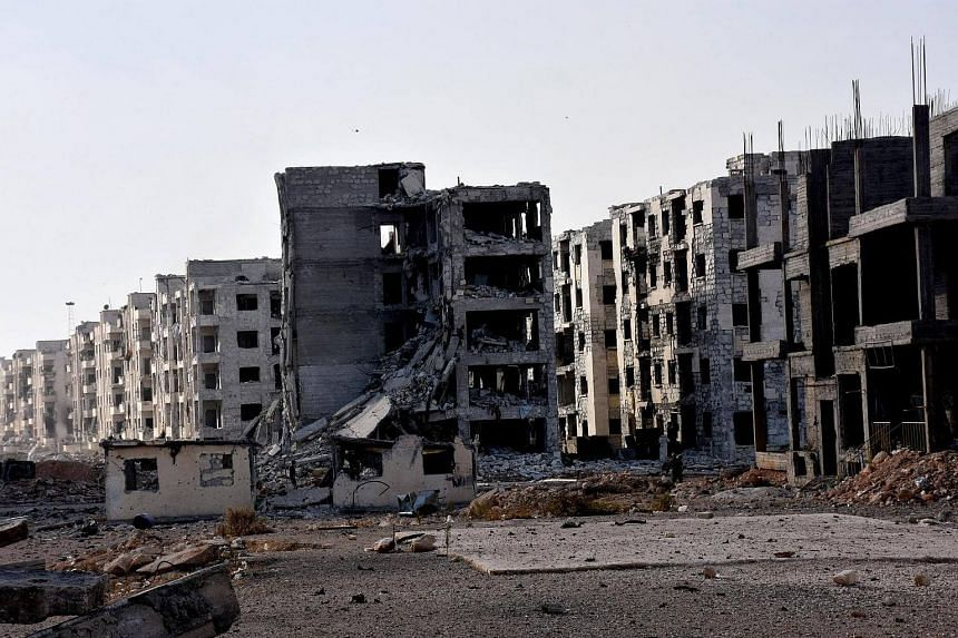 Damaged buildings in the area 1070 apartment in Aleppo province, Syria on Nov 8, 2016.