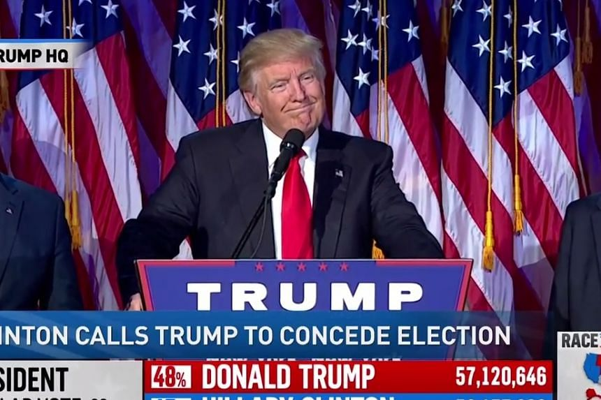 President-elect Donald Trump giving his victory speech after Mrs Hillary Clinton concedes defeat in a phone call to him.