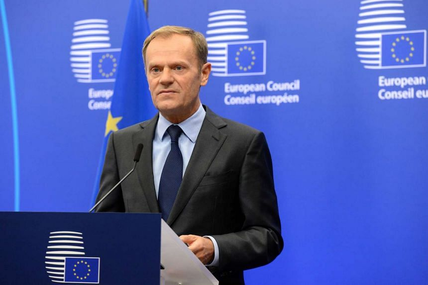 European Union Council President Donald Tusk speaks to the media about the US elections at the EU Council building in Brussels on Nov 9, 2016.