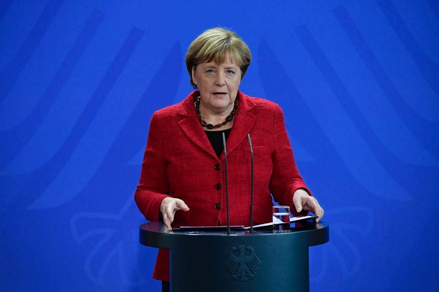 German Chancellor Angela Merkel gives a statement to comment on the result of the presidential elections in the US on Nov 9, 2016 in Berlin.