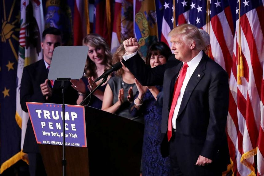 Republican President-elect Donald Trump delivering his acceptance speech at his election night event at the New York Hilton Midtown in the early morning hours of Nov 9, 2016.