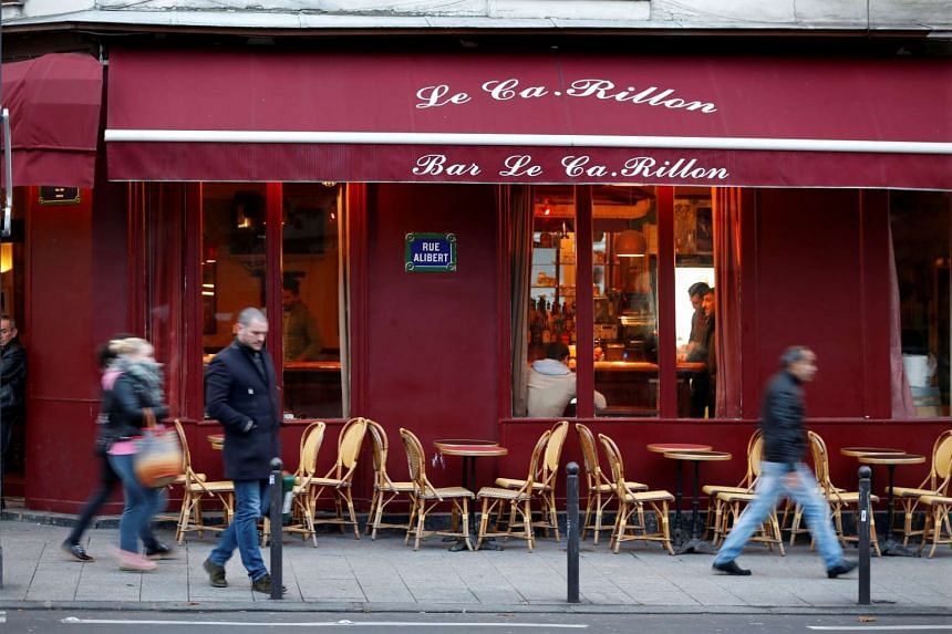 "A view shows the ""Le Carillon"" bar almost one year after a series of attacks at several sites in Paris."