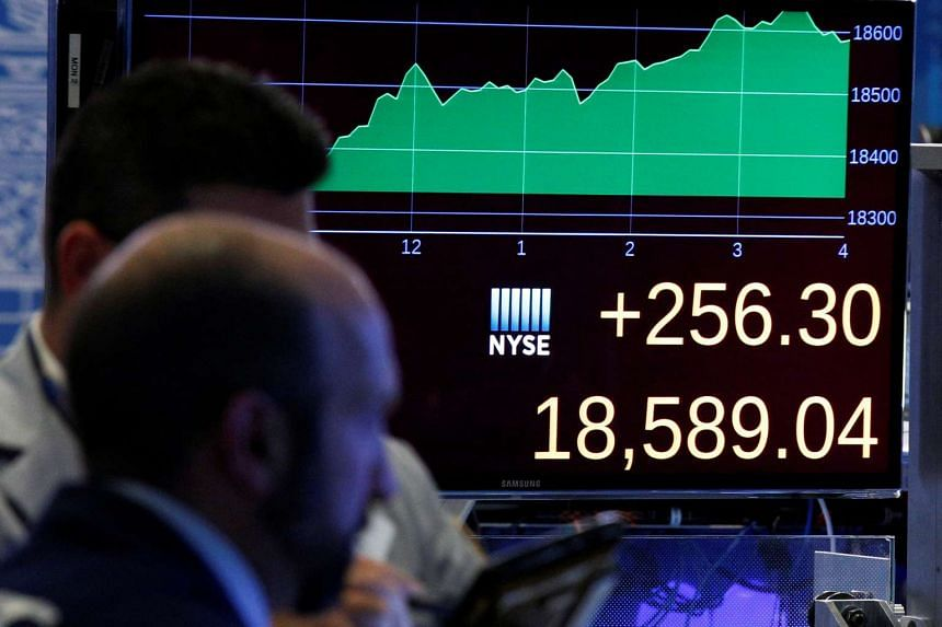 A screen shows the Dow Jones Industrial Average at the close of trading on the floor of the New York Stock Exchange (NYSE) the day after the US presidential election.