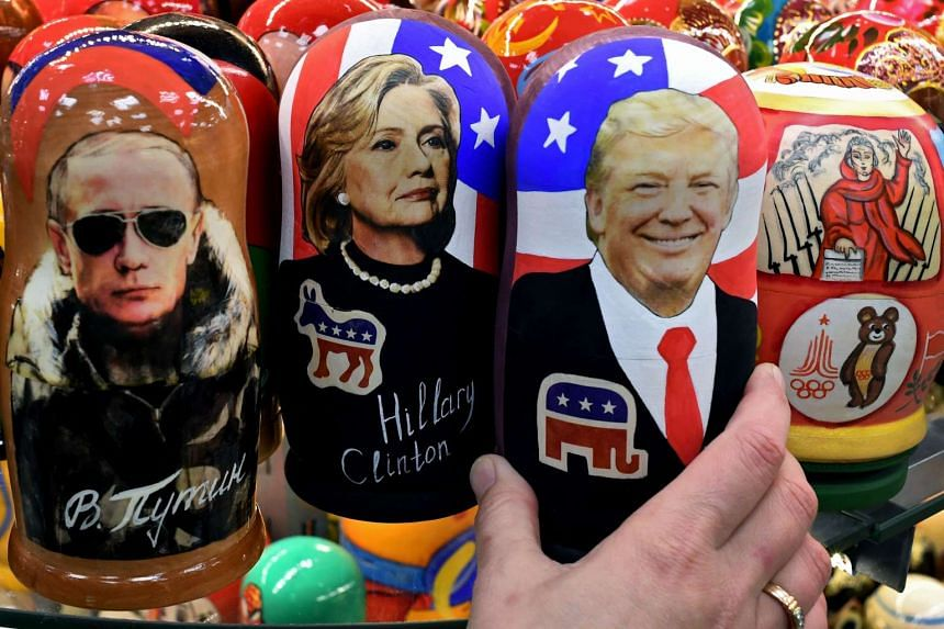 Russian Matryoshka dolls depicting Russian President Vladimir Putin, US Democratic presidential nominee Hillary Clinton and U Presidential-elect Donald Trump seen at a gift shop in central Moscow.