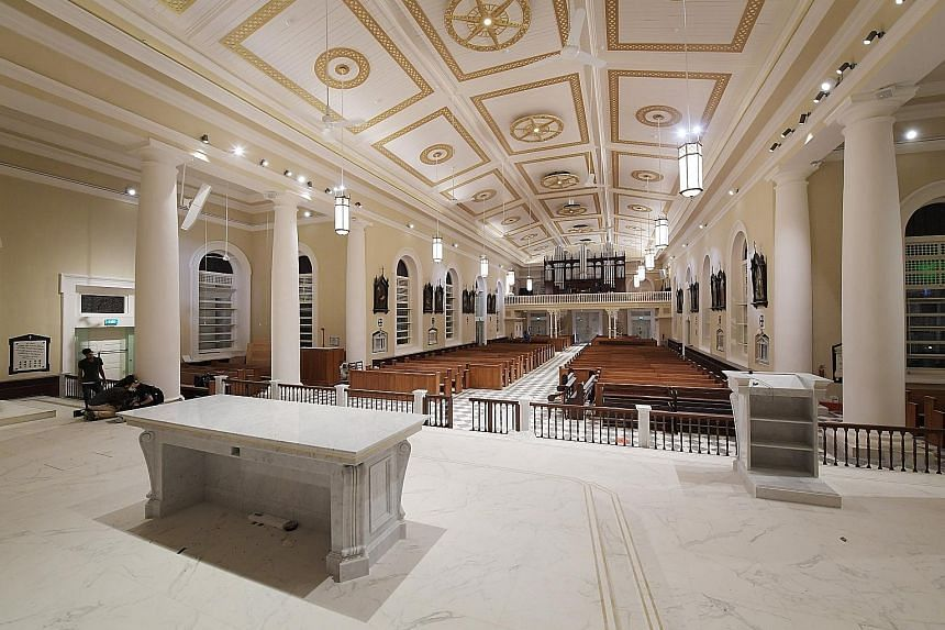 The overhaul of the cathedral included reintroducing a black and white checkerboard pattern for its new floor using high quality ceramic tiles. The Cathedral of the Good Shepherd, in its original colours of white and dark yellow, will reopen soon. It