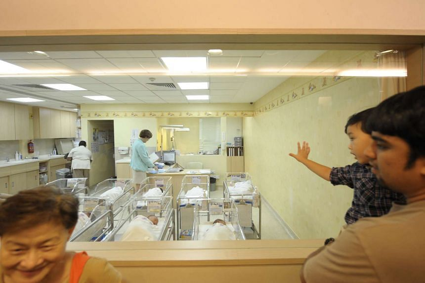 Babies in a nursery at Thomson Medical Centre.
