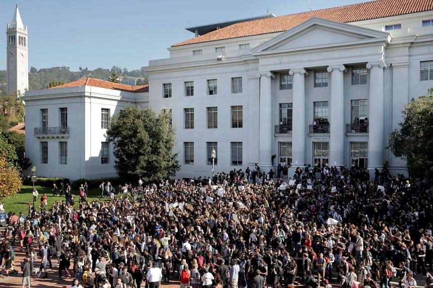 Berkeley High School students begin to march after assembling on the University of California Berkeley campus.