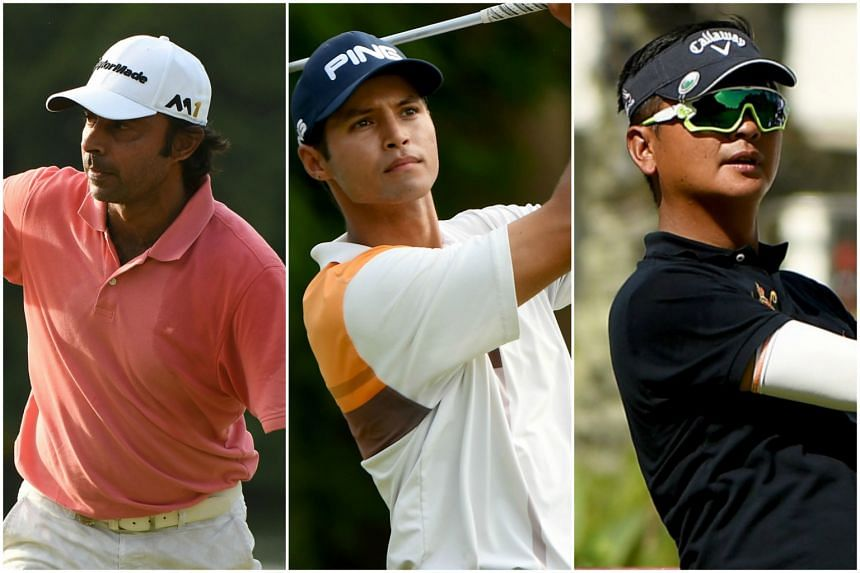 (From left) India's Jyoti Randhawa, USA's Johannes Veerman and Taiwan's Lin Wen-tang at the Resorts World Manila Masters tournament on Nov 10, 2016.
