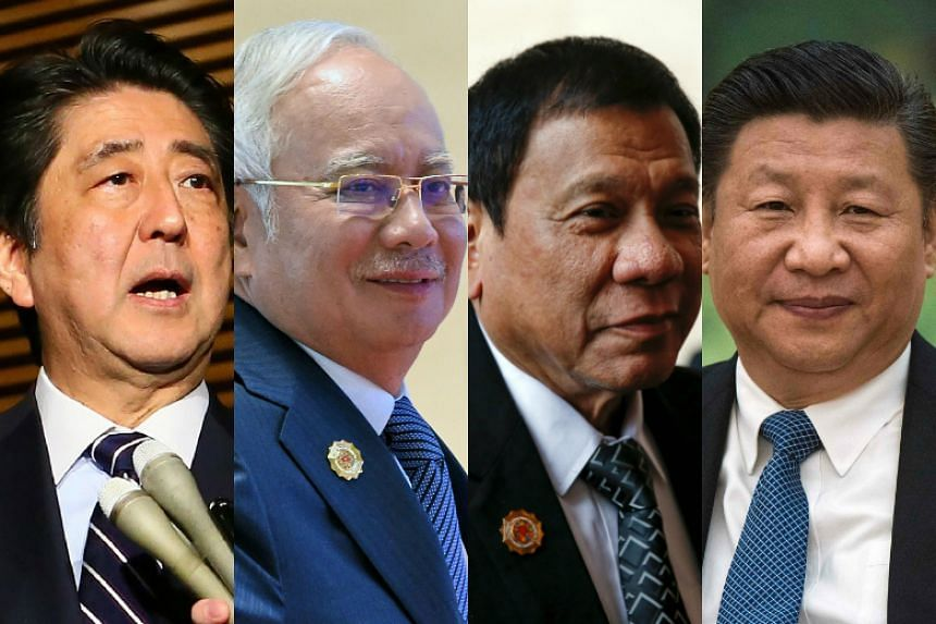 (From left) Prime Minister Shinzo Abe of Japan, Malaysian Prime Minister Najib Razak, Philippine President Rodrigo Duterte and Chinese President Xi Jinping have congratulated US President-elect Donald Trump on his stunning election victory.