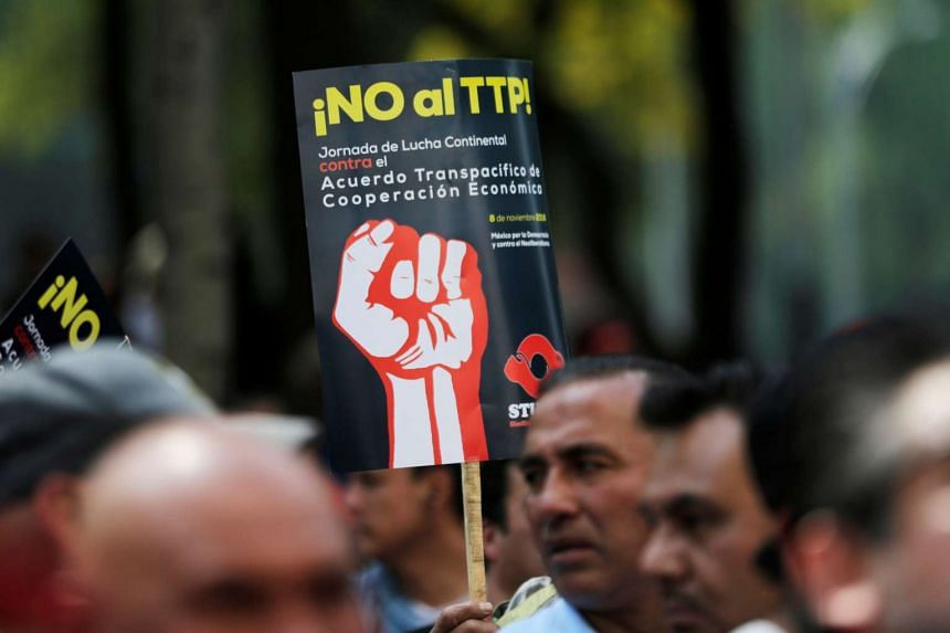 A protester holds a placard reading 'No to TPP' at a rally against the Trans Pacific Partnership (TPP), along Reforma Avenue in Mexico City on Nov 8, 2016.