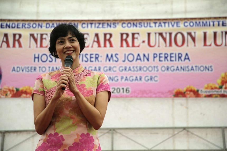 Ms Joan Pereira, an MP for Tanjong Pagar GRC, speaking at an event at Bukit Merah View on Feb 7, 2016.