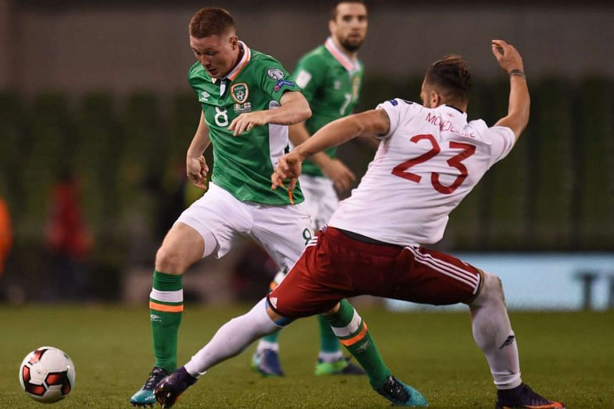 Midfielder James McCarthy (left) taking on Georgia's Levan Mchedlidze during the Republic of Ireland's 1-0 win. That World Cup qualifier on Oct 7 was McCarthy's first appearance since featuring for Everton on Aug 23.