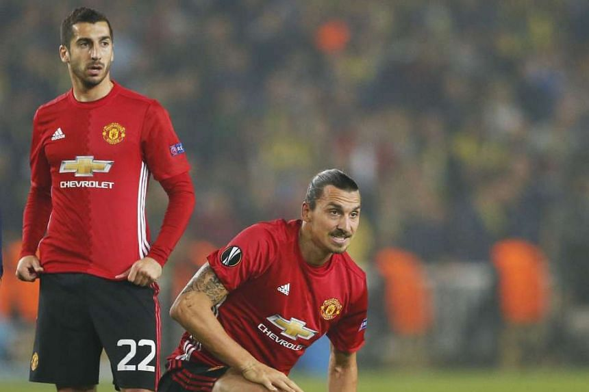 Manchester United's Zlatan Ibrahimovic (right) and team-mate Henrikh Mkhitaryan in action during last week's Europa League defeat by Fenerbahce. It was Mkhitaryan's first United appearance since Sept 10.
