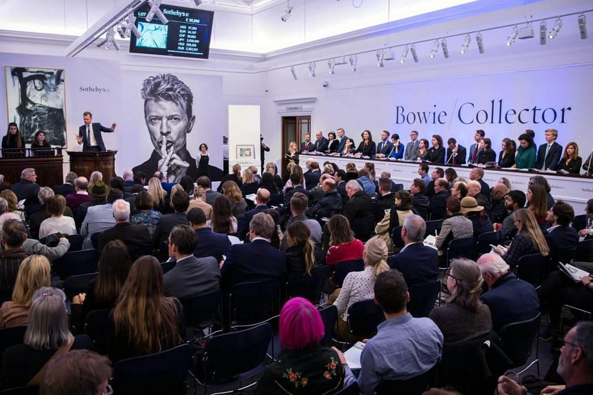 A view of the auction hall during the Bowie/Collector sale at Sotheby's auction house in London, Britain, on Nov 10, 2016.
