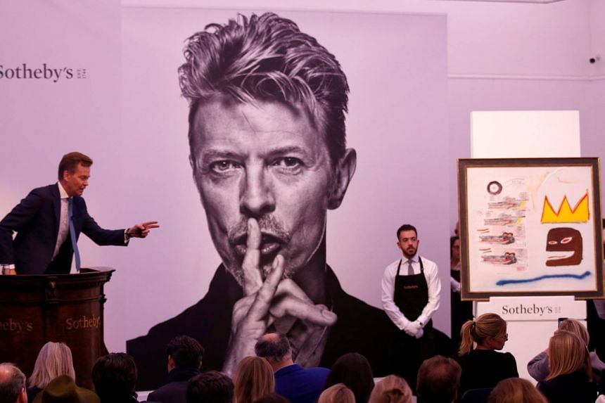 An untitled painting by Jean-Michel Basquiat, owned by the late David Bowie, is sold for £2,000,000 at the Bowie/Collector auction.