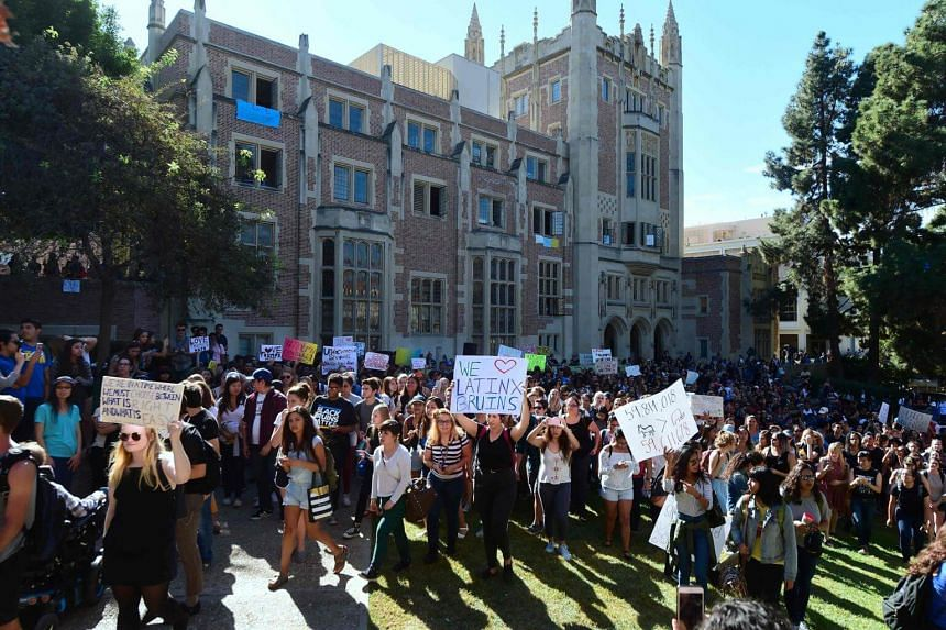 University of California Los Angeles students marching through campus on Nov 10, 2016, in Los Angeles, California, during a Love Trumps Hate rally.