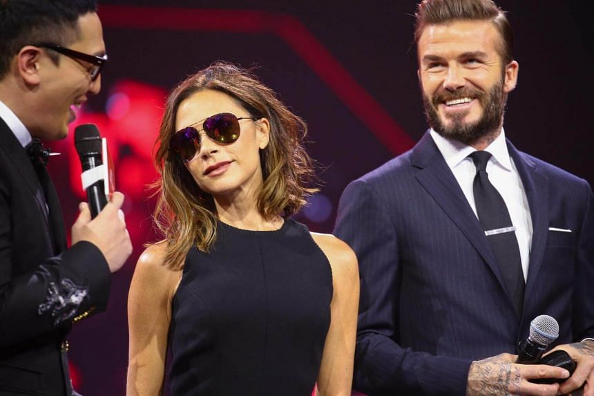 Victoria Beckham and husband David Beckham participating in the Alibaba 11.11 Global Shopping Festival Countdown Gala in Shenzhen, Guangdong Province, China, on Nov 10, 2016.