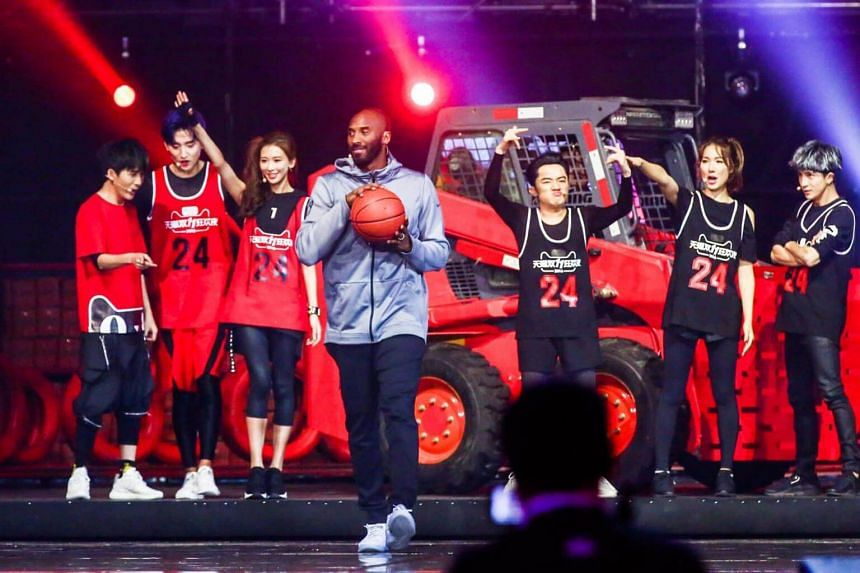 Kobe Bryant (centre) participating in the Alibaba 11.11 Global Shopping Festival Countdown Gala in Shenzhen, Guangdong Province, China on Nov 10, 2016.