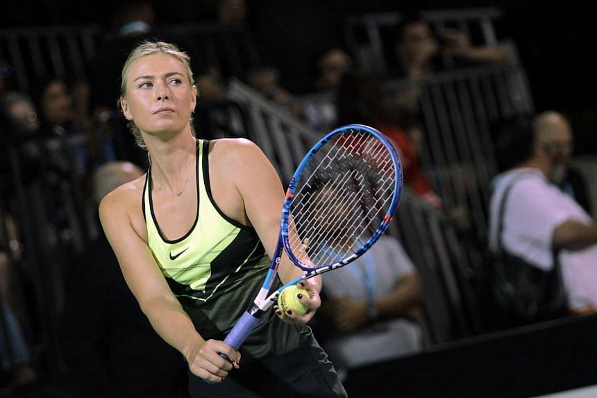 Tennis star Maria Sharapova competes in the World Team Tennis Smash Hits charity tennis event benefiting the Elton John AIDS Foundation at Caesars Palace on Oct 10, 2016, in Las Vegas, Nevada.