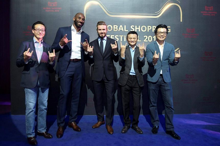 (From left) Joe Tsai, Kobe Bryant, David Beckham, founder and executive chairman of Alibaba Group Jack Ma, and Alibaba Group's chief marketing officer Chris Tung pose for pictures at Alibaba's 11.11 Singles' Day Shopping Festival Countdown Gala, in S
