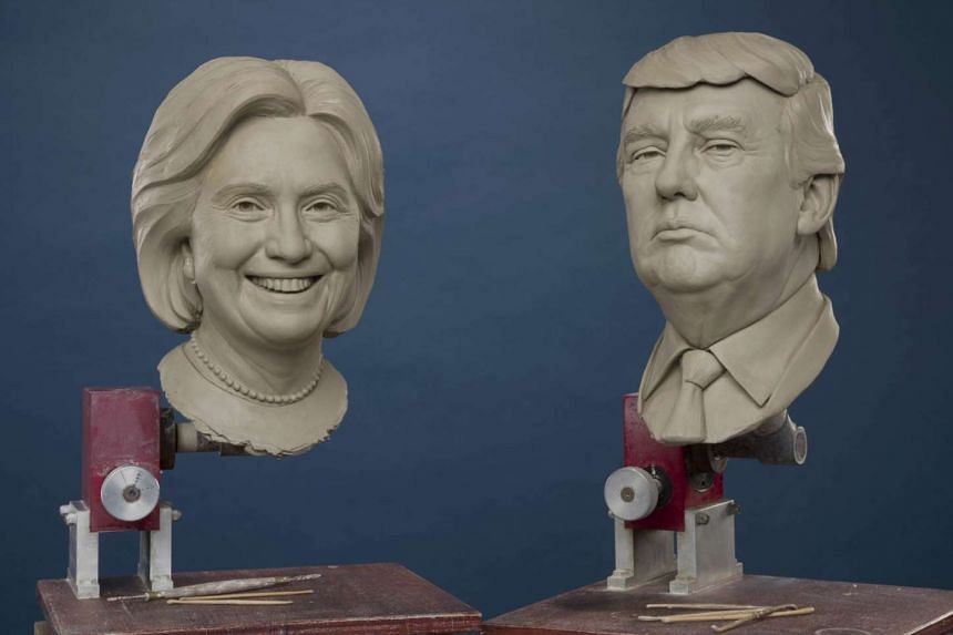 London's Madame Tussauds shows off its Donald Trump and Hillary Clinton clay models in a July 2016 photo.