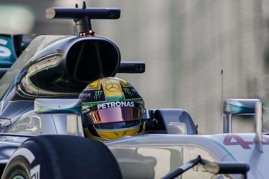 Hamilton during the first practice session in Sao Paulo, Brazil.