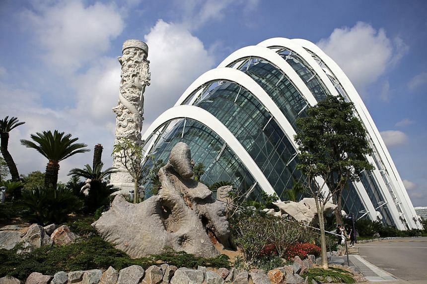 Designed by Japanese landscape designer Jun-ichi Inada, The Canyon features Singapore's largest collection of sculptural rocks. Shaped by weather and time, several of them are more than 1,000 years old. The 10m-high granite Huabiao, or Chinese totem,