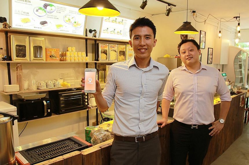 Mr Tan Jun Yuan (left) and Mr Lim Ting Hong co-founded 11th Hour, a mobile app that helps food establishments to cut wastage by allowing them to dangle discounts in real time. Cafe and bakery owners say they like the tool because it does two things f