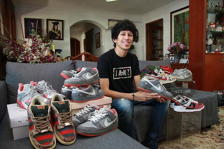"""Sneaker collector Janz Abdullah (holding the autographed special edition Nike Dunk Low Pro SB """"Pigeon"""") will be showcasing some of his prized footwear at Sole Superior."""