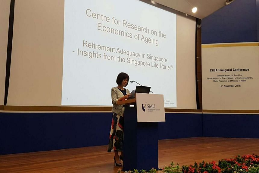 Senior Minister of State for Health Amy Khor speaking at the SMU event.