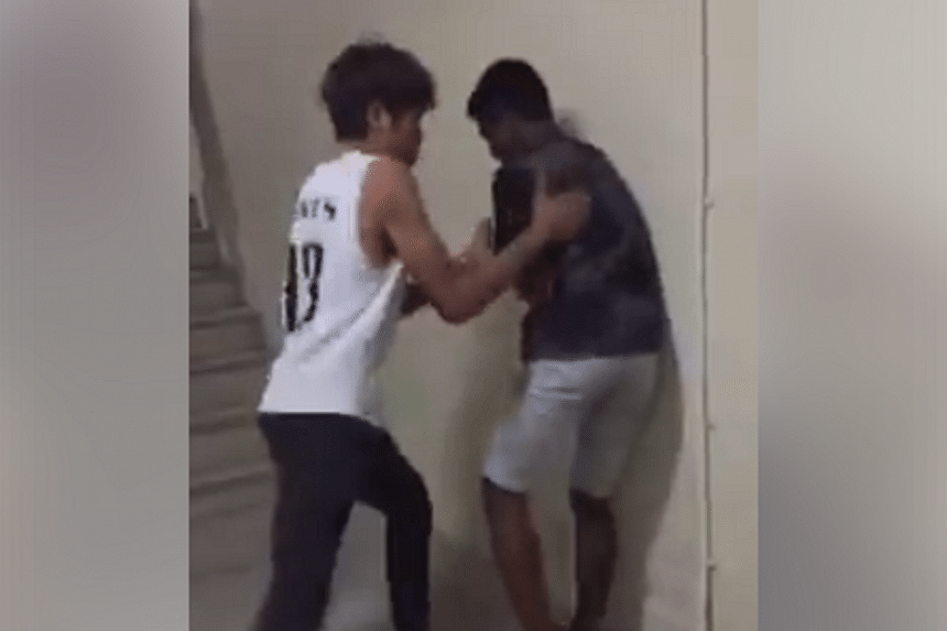 One of the boys in the video was wearing a white Saints singlet, although it is unclear if he is from St Andrew's Secondary School.