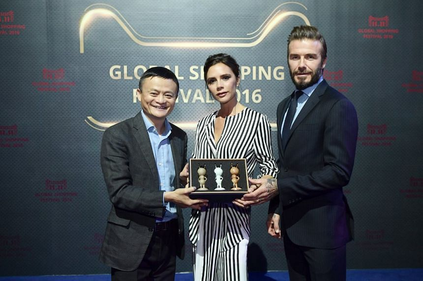 (From left) Jack Ma, founder and executive chairman of Alibaba Group, Victoria Beckham and David Beckham at the Singles' Day pre-sale gala.