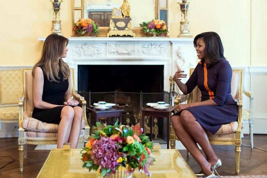 First Lady Michelle Obama meets with Melania Trump for tea in the Yellow Oval Room of the White House on Nov 10, 2016.