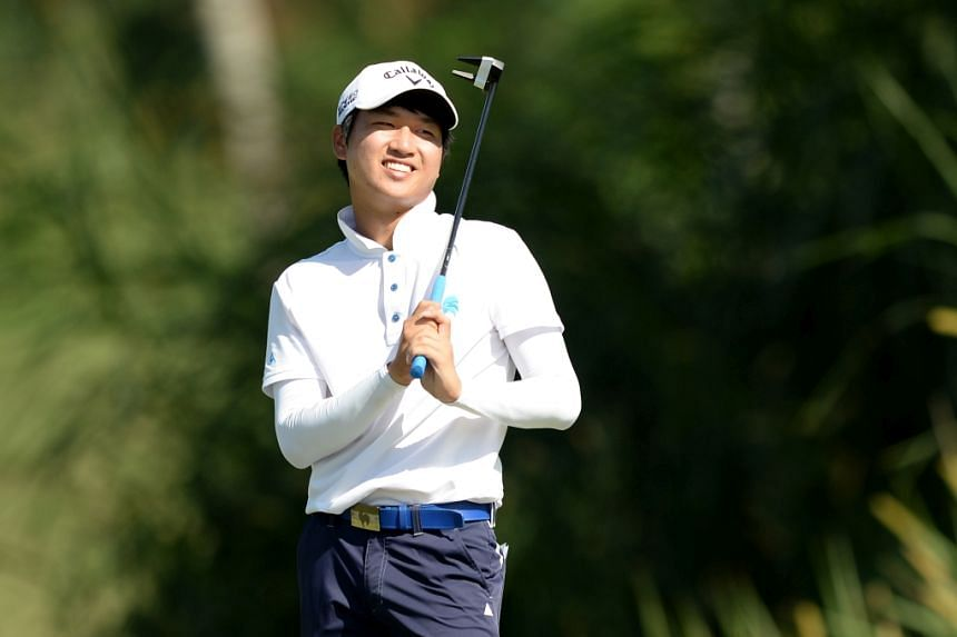 Wang (above, in a file photo) carded a birdie-laced third-round 64.