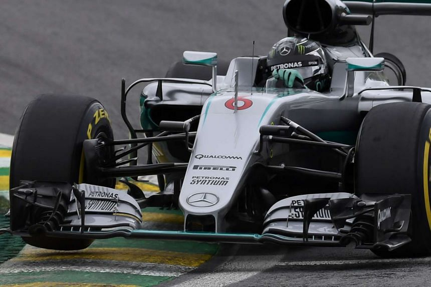 Nico Rosberg steers his car during the third practice session of the Brazilian Grand Prix.