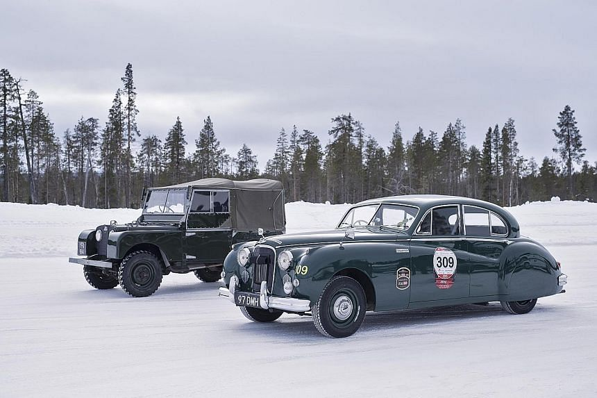 Jaguar MKII, MKVII (right) and XK150, and Land Rover Series I (left), Series II and Series III.