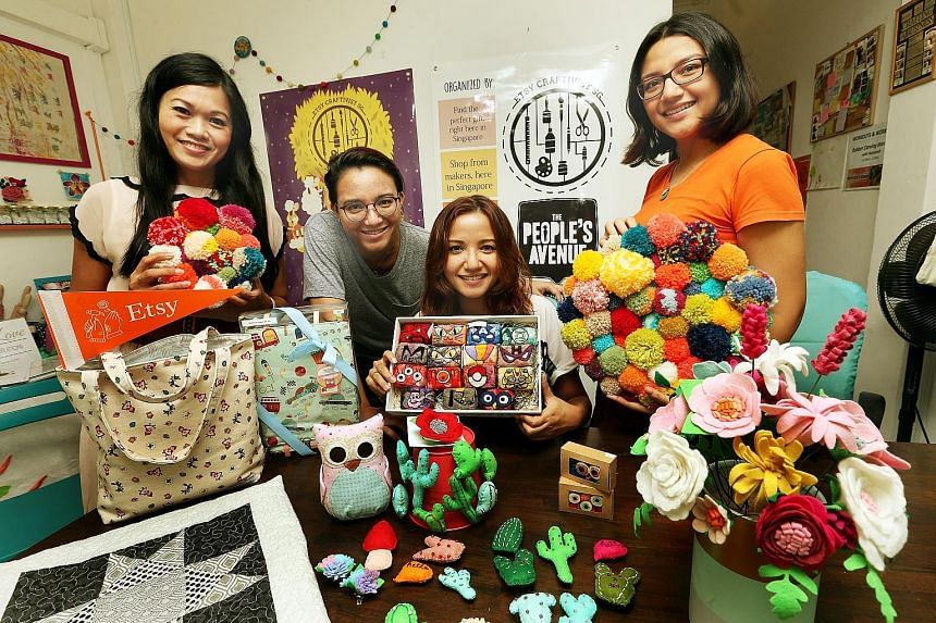Singapore crafters (from far left) Vivien Tan, Salehah Zailani, Salinah Zailani and Siti Nuraisah Zailani are part of Etsy Craftivist SG, which is organising the Singapore edition of the Etsy Made Local market.