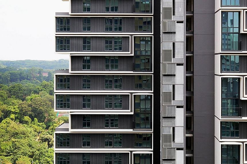 A black, grey and white palette (above) is used for SkyTerrace@ Dawson (top) - a contrast to the typically brightly coloured Housing Board flats. Lush greenery dots the compound of SkyTerrace@Dawson.